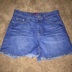 "Signature8 High Rise Jean shorts 11"" rise Cut offs"